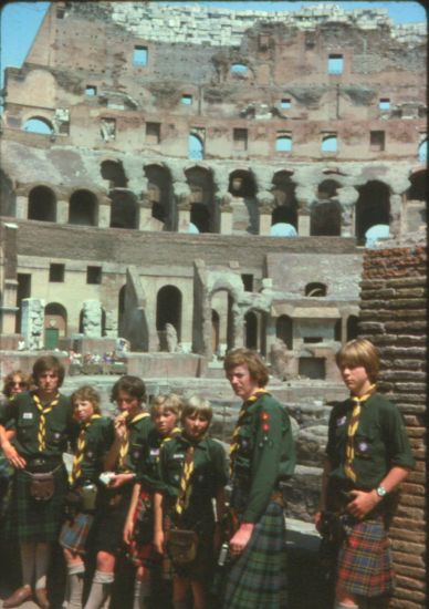Members of 24th Glasgow ( Bearsden ) Scout Group at the Colosseum in Rome
